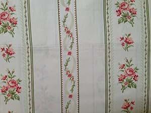 Laura Ashley Queen Sheet Set 300 TC Emmeline Pink Rose with Green Stripe