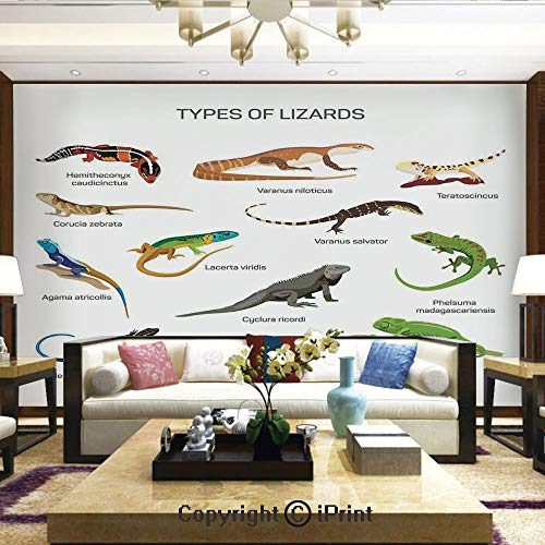 Lizards Mural - Lionpapa_mural Removable Wall Mural | Self-Adhesive Large Wallpaper,Lizard Family Design Primitive Reptiles Camouflage Exotic Creatures Home Design Decorative,Home Decor - 66x96 inches