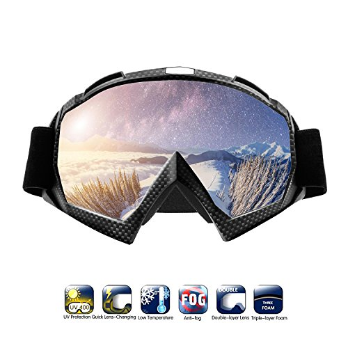 Atv goggles, Motocross Goggles Motorcycle Dirt Bike Ski Goggles Windproof Scratch Resistant Combat Goggles Adjustable UV Protective Safety Outdoor Glasses for Cycling, Climbing, etc (Damier)