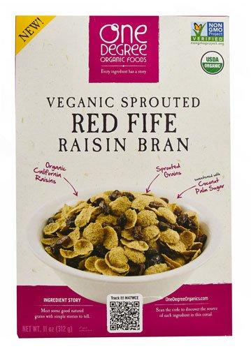 One Degree Organic Foods Veganic Sprouted Red Fife Raisin Bran -- 11 oz - 2 pc