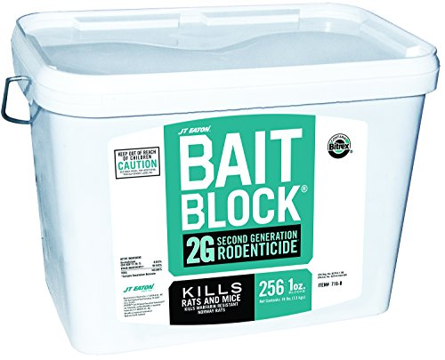 JT Eaton 716-B Bait Block 2G Second Generation Rodenticide, Bait for Rats and Mice, 16-Pound Pail