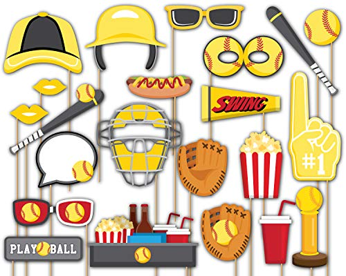 Birthday Galore Softball Star Photo Booth Props Kit - 20 Pack Party Camera Props Fully Assembled