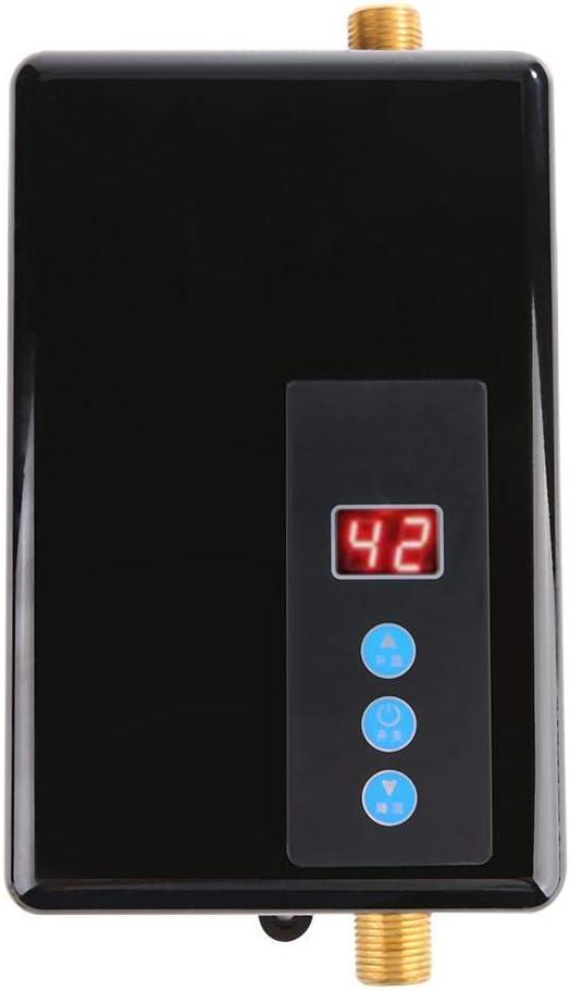 Garosa Mini Calentador de Agua Eléctrico Instantáneo Medidas de Seguridad Múltiples Calentador de Agua Ducha Sin Tanque Sistema de Agua Caliente para Cocina y Baño 220v 5.5kw (Black)