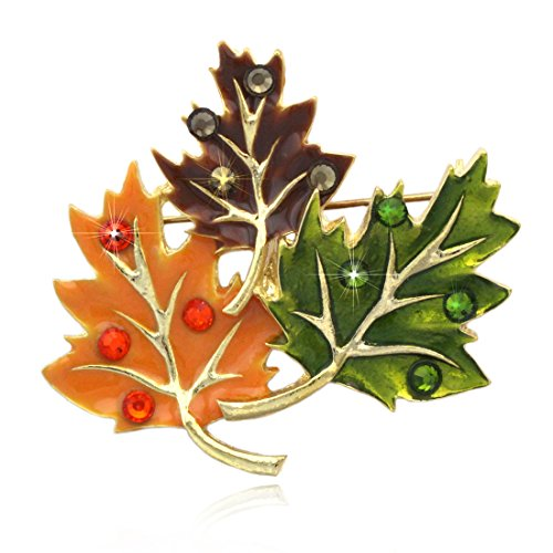 cocojewelry Fall Maple Leaves Brooch Pin Necklace Pendant Thanksgiving Jewelry (Maple Leaf)