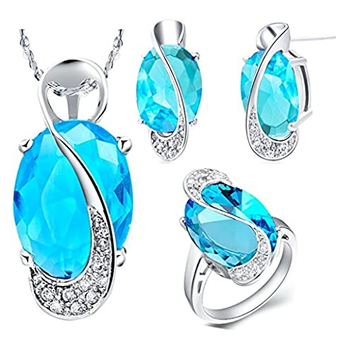 Aomily Jewelry, Gold Oval Womens Earring Necklace And Ring Sets White Gold Decoration Size 8