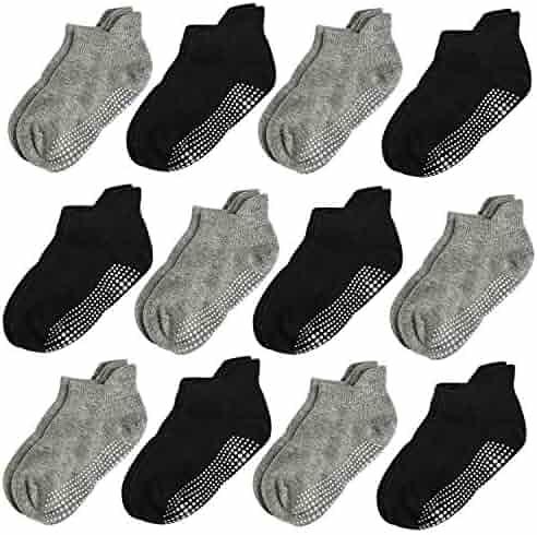 Aminson Grip Ankle Socks - Kids Boys Girls Anti Non SkidSlip Slipper Crew Socks-6/12 Pairs