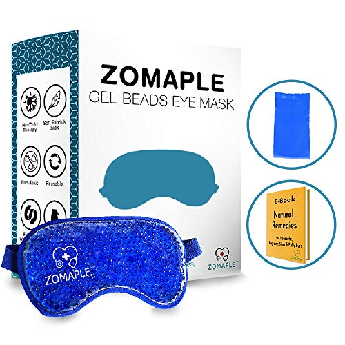 (Gel Eye Mask for Puffy Eyes - Migraine Headache Relief Cold Heated Compress Pad - Cooling Ice & Warm Treatment for Dry Eyes, Sinus, Dark Circles & Allergies - Adjustable, Reusable & Ultra Soft)