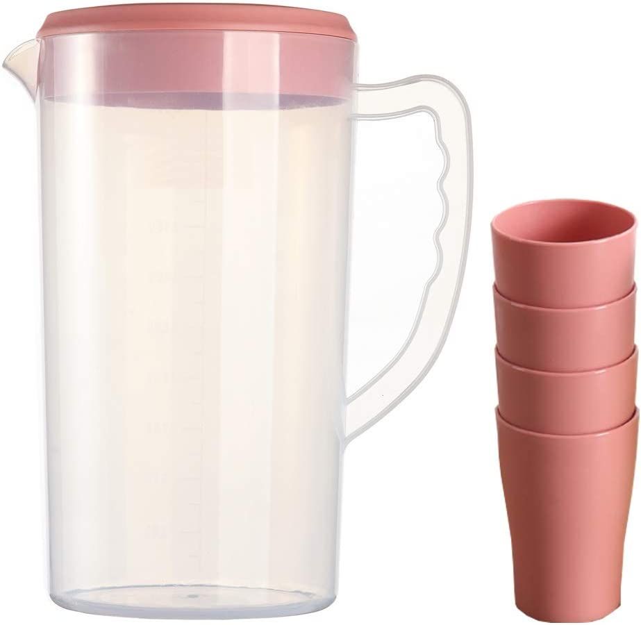 0.66 Gallon/2.5 Litre Plastic Water Pitcher with Lid/cover BPA-FREE Eco-Friendly Carafes Mix Drinks Water Jug for Hot/Cold Juice Beverage Ice Tea (84oz Pink Cups)