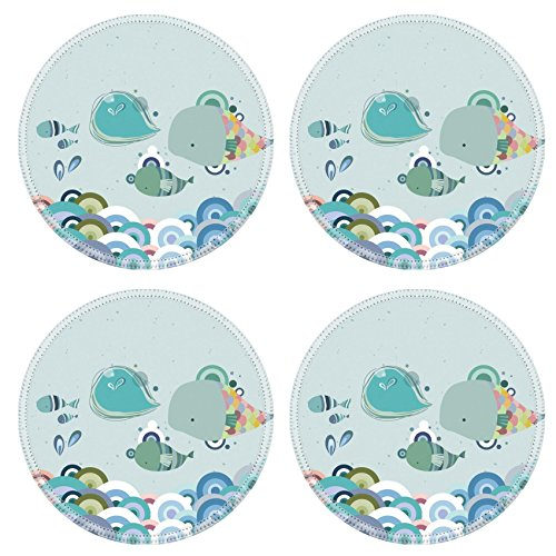 Custom Coaster Set of 4 ,MSD Unique Printed Coaster Cup Mat Design for illustration cartoon vector pattern cute texture art happy colorful wallpaper seamless color blue