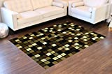 Masada Rugs Modern Black Area Rug #556 Extacy (5 Ft. X 7 Ft.) For Sale