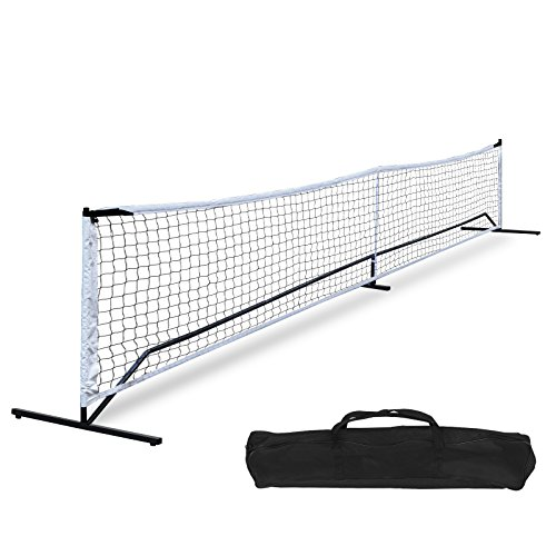 (F2C Universal Portable Recreational 22FT Pickleball Net Set Soccer Tennis Badminton Net Game Set System W/Metal Frame Stand and A Carrying Bag, Driveway, Bench, Indoor Outdoor)
