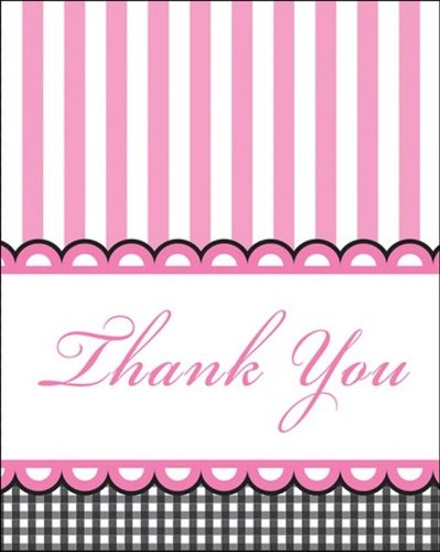 8-Count Thank You Notes, Sweet Baby Feet Pink