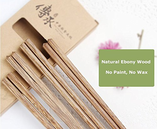 "10"" Chinese Ebony Organic Natural Wood Chopsticks 10 pairs set, NO paint wax wooden skid by Fine commodities Chinese Wood Chopsticks"