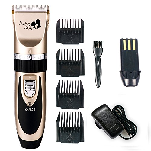 Cut Trimmer - Jack & Rose Professional Hair Cutting Kit Rechargeable Hair Clipper and Trimmer 7 Attechments Haircut Tools for Family Using, Golden