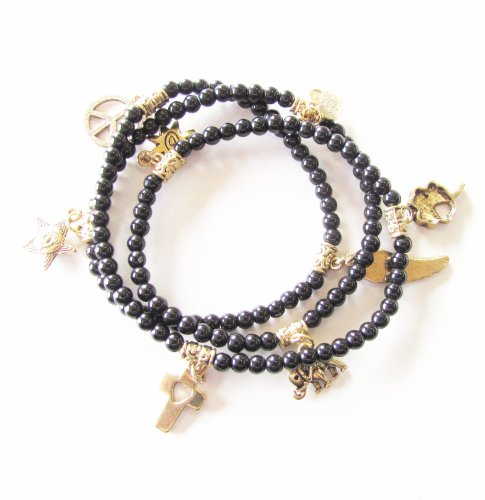 3 in 1 Bracelet, Necklace and Anklet, Black Glass Stones with 8 Gold Tone Charms Adjustable