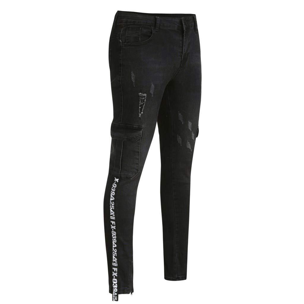 Sunyastor Men's Stretchy Ripped Skinny Biker Jeans Slim Fit Denim Pants Destroyed Hole Distressed Jeans with Pocket Black by Sunyastor men pants (Image #6)
