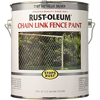 Rust Oleum 7787402 Chain Link Fence Paint 1 Gallon Metallic Silver House Paint