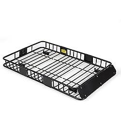 "ARKSEN 64"" Universal Black Roof Rack Cargo with Extension Car Top Luggage Holder Carrier Basket SUV Storage, Black"