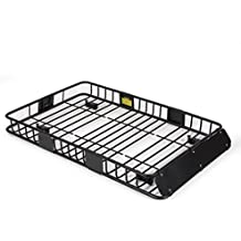"ARKSEN 64"" Universal Black Roof Rack Cargo with Extension Car Top Luggage Holder Carrier Basket SUV"