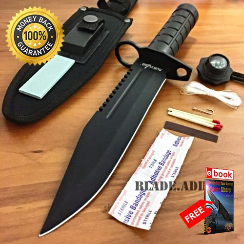 12'' Tactical Hunting Rambo Combat Fixed Blade Knife Machete Bowie Survival Kit For Hunting Tactical Camping Cosplay + eBOOK by MOON (12' Machete)