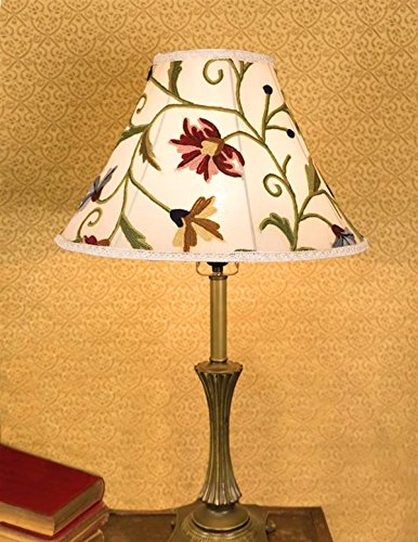 Floral Pattern Lamp - Victorian Trading Co Silk Wool Embroidered Wildflowers Floral Ivory Lamp Shade