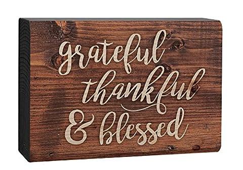 Grateful Thankful Blessed Script Brown 4 x 5 Inch Solid Pine Wood Barnhouse Block Sign - Sign Blocks Decor