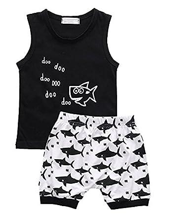 Baby Boys Vets Sets Cute Shark Printed 2PCS Tank Tops and Shorts Outfits