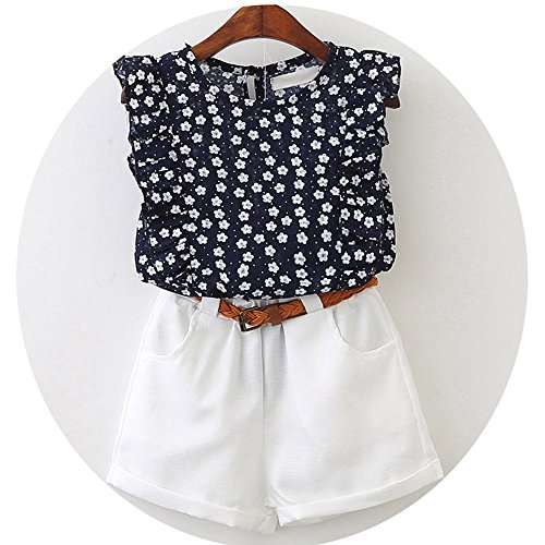 MDFY OEWGRF Beautiful Floral Flower Sleeve Children Vest Clothing Shorts Suit 2 Pieces Clothes