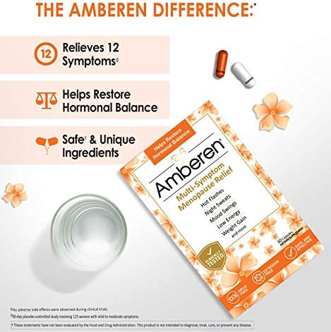 Amberen: Safe Multi-Symptom Menopause Relief. Clinically Shown to Relieve 12 Menopause Symptoms: Hot Flashes, Night Sweats, Mood Swings, Low Energy and More. 2 Month Supply 7