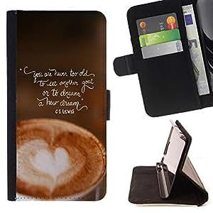 King Art - Premium-PU-Leder-Prima caja de la PU billetera de cuero con ranuras para tarjetas, efectivo Compartimiento desmontable y correa para la mu?eca FOR Sony Xperia Z3 D6653- Coffee Cup Patten Art
