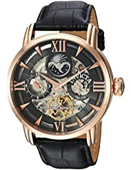 Invicta Mens Objet dArt Automatic Stainless Steel and Leather Casual Watch, Color:Black (Model: 22653)