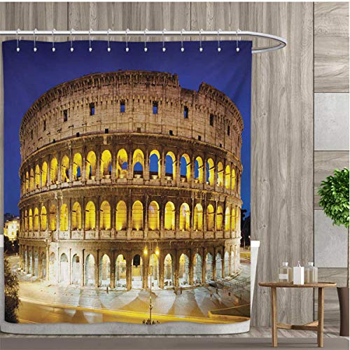 - smallfly The Colosseum Shower Curtain Customized Historic Imperial Roman Architecture European Culture Symbol Bathroom Set with Hooks 72