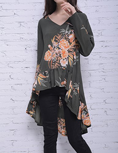 Long Hi Retour Long Jelly irrgulire Blooming Asymtrique Ourlet Volants Femmes T Floral Shirt plisss Low Chemisier Top Imprim Bas Vert Haut n6SxqYSwO