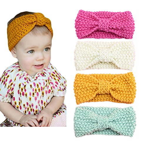 DANMY Women and Baby Knitted Bow Headband Crochet Winter Elastic Hair Band (child (4pcs))