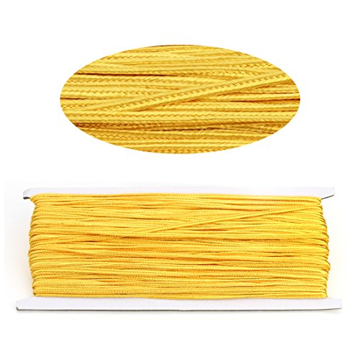 Linsoir Beads 3MM Soutache Braided Cord String Beading Sewing Quilting Trimming Gold Yellow Color 34 Yards/31 Meters