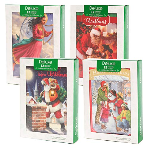 Search : Papercraft (48 Pack) Boxed Christmas Cards Deluxe Bulk Assortment Holiday Cards Pack with Foil & Glitter - African American Christmas Cards