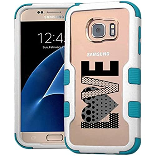 Galaxy S7 Case Polka Dots Love, Extra Shock-Absorb Clear back panel + Engineered TPU bumper 3 layer protection Sales