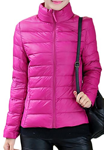 Papijam Womens Casual Simple Solid Zip-Front Puffer Cotton Down Jacket Rose Red XS - Nylon Zip Front Jacket