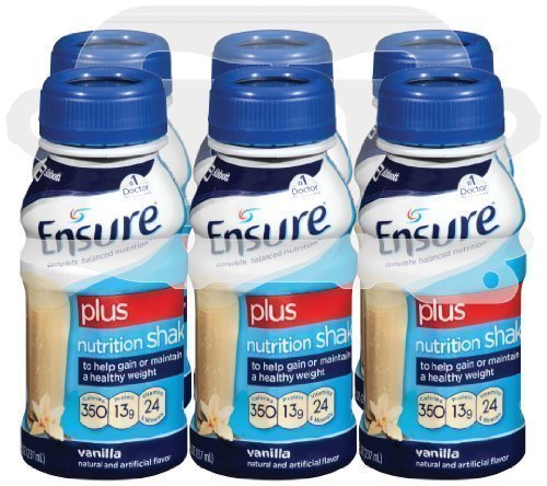 Ensure Plus Complete Balanced Nutrition Drink, Ready To Use, Vanilla Shake, 24 - 8 Fluid Ounce Bottles by Ensure