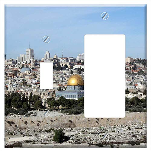 1-Toggle 1-Rocker/GFCI Combination Wall Plate Cover - Al-Aqsa Mosque Dome Of The Rock Holy Land Jer