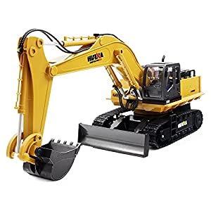 RC Alloy Excavator Toy, Remote Control 1:16 Scale 2.4GHz 11CH RTR Mechanical Sound / 680-degree Rotation / Movable Stick Boom Bucket, Toy Car Christmas Birthday Gifts for Kids Child Boys Girls