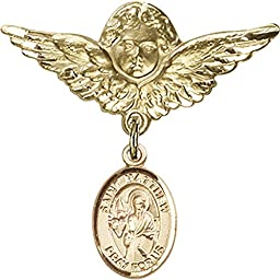 Gold Filled Baby Badge with St. Matthew the Apostle Charm and Angel w/Wings Badge Pin 1 1/8 X 1 1/8 inches