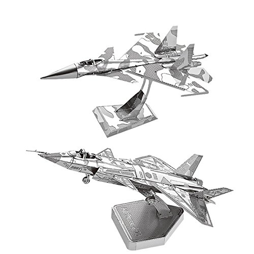 MOTU 2pcs 3D Metal Puzzle Su34 Fighter + Air Force J20 Model Kits D21120-27 DIY 3D Laser Cut Jigsaw Toys ()