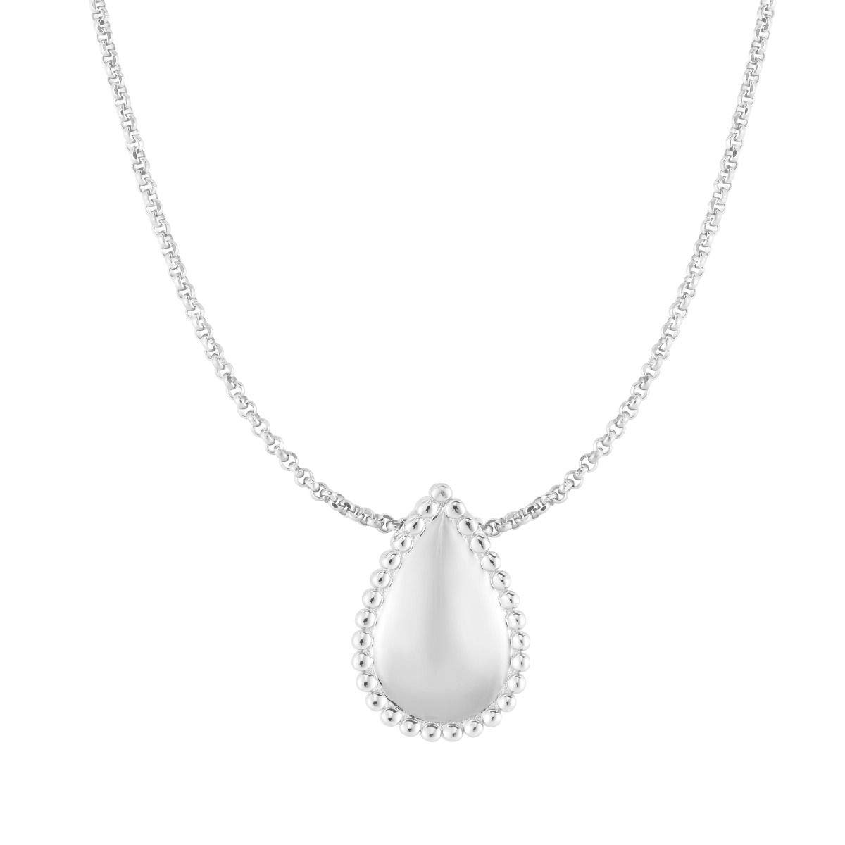 Sterling Silver Rhodium Plated Beaded Teardrop Pendant Necklace and Stud Earrings Set