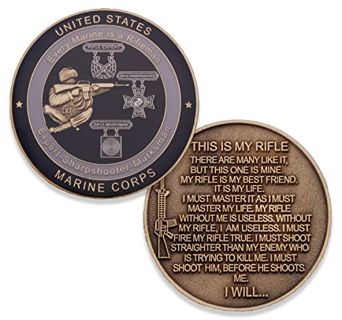 Marine Corps Rifleman Creed Challenge Coin - USMC Military Coin - Officially Licenced Product Designed By Marines FOR Marines. USMC Challenge Coin ()