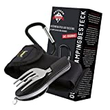 OUTDOOR FREAKZ Outdoor cutlery and camping cutlery foldable made of stainless steel (black)