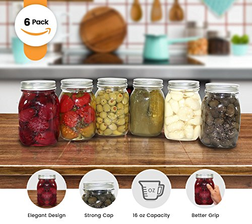 Golden Spoon Mason Jars, With Regular Lids, and Lids for Drinking, Regular Mouth, Dishwasher Safe, BPA Free, (Set of 6) (16 oz/Pint) by Golden Spoon (Image #1)