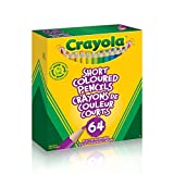 Crayola 64 Short Coloured Pencils with Built-in Sharpener, Adult Colouring, Bullet Journaling, School and Craft Supplies, Drawing Gift for Boys and Girls, Kids, Teens Ages  5, 6,7, 8 and Up, Holiday Gifting, Stocking Stuffers, Arts and Crafts