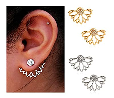 Suyi Fashion Hollow Lotus Flower Earrings Crystal Simple Chic Stud Earrings Set