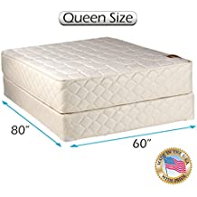 """Dream Solutions USA Grandeur Deluxe Mattress and Box Spring Set Fully Assembled, Good for Your Back, Superior Quality - Luxury Height, Long Lasting and 2 Sided, Queen - 60"""" W x 80"""" L"""